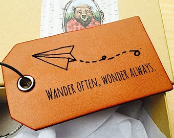 Airplane Luggage Tag, Travel Gifts, Wander often, Wonder Always, Gift for Traveler, Travel Quotes, Graduation Gift, Personalized, For Him