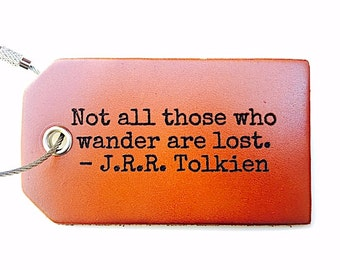 Personalized Leather Luggage Tag, Not all Those Who Wander Are Lost, Tolkien, Baggage Tag, Travel Gifts For Men, Leather, Under 20