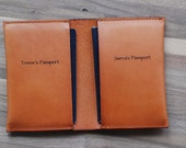 Unique wedding Gift for couple - Dual Passport Sleeve, Leather Passport Cover, Gift For Bride, Gift For Groom, Wedding Day Gift, Travel Gift