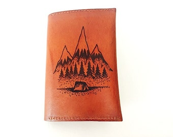 Personalized Passport Holder, Passport Wallet,  Adventure Travel Wallet,  Mountain Camping Passport Case, Quote, Leather Passport Sleeve,