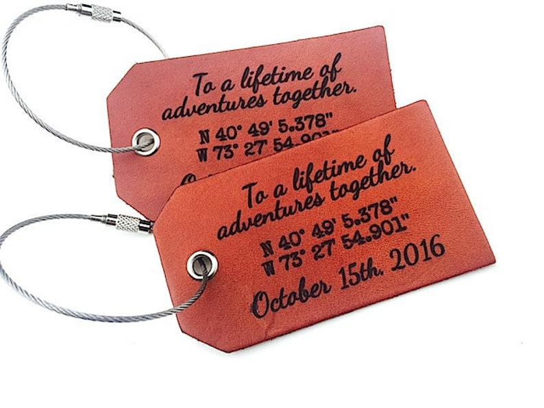 Leather Luggage Tag Personalized Wedding Gift For Wife image 0