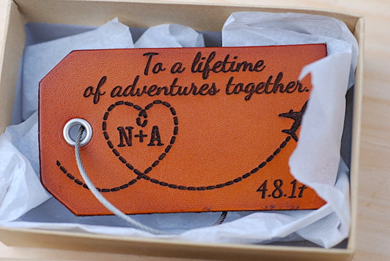 Personalized Text Leather Baggage Tag Travel Gift Airplane image 0