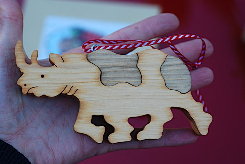 Free Shipping Christmas Eve Handmade Christmas Ornament Holiday Party Gift Rustic, Ready to Ship Wooden Christmas Ornament Rhino