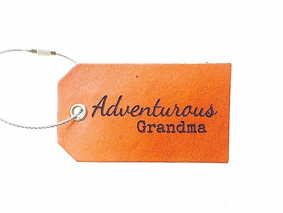 Adventurous Grandma Leather Luggage Tag Retirement Traveler