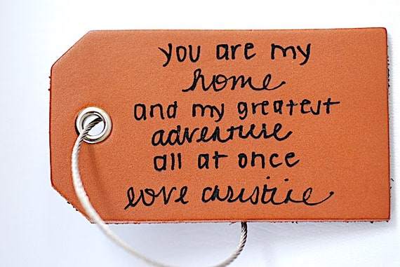 Secret Message Luggage Tag Gift under 20 Personalized Note Leather Tag Handwriting on Bag Tag Girlfriend Travel Gift For Boyfriend