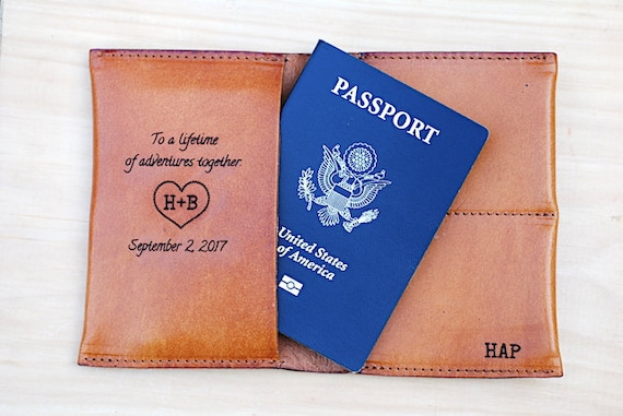 Travel Wedding Gift For Couple Personalized Leather Passport Etsy