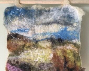 landscape, felted wool, felting, customize