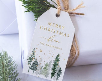 Christmas Gift Tag, Editable Christmas Gift Tags, Holiday Tags, Pine Trees Tags, Gift Tag Template, Whispering Pines, Instant Download