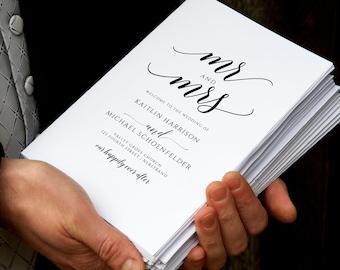 Elegant Wedding Program Template   Printable Folding Wedding Programs   Romantic Calligraphy (Black)  EDIT ONLINE in Templett - Download PDF