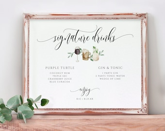 Wedding Sign Template - Signature Drinks Watercolor Cocktails   Printable Wedding Sign   Flair   Diy Wedding Sign   Edit Online in Templett