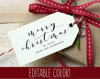Personalized Christmas Tags, Christmas Gift Tag, Holiday Tags, Merry Christmas Tag, Gift Tag Template, Lively Calligraphy, Edit Download PDF