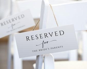Elegant Minimalist Wedding Reserved Card   Hanging Reserved Chair Sign   Wedding Reserved Cards   EDITABLE Templett - Download PDF