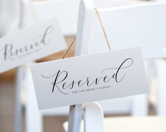 Luxury Wedding Reserved Sign Template (Tent 4x9.25)   Splendid Calligraphy   EDITABLE COLOR   Edit Online in Templett   Download PDF Print