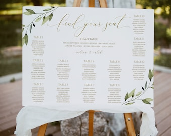 Wedding Seating Chart   Seating Chart Poster   Table Plan   2 Sizes (18x24, 24x36)   Templett - Edit & Download PDF   Ethereal Greenery Gold