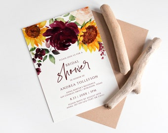Fall Bridal Shower Invitation Template   Fall Wedding Shower   Sunflowers and Burgundy Red Roses   Editable Templett - Download as PDF 5x7