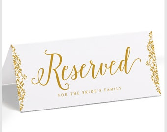 Elegant Vintage Gold Wedding Reserved Sign Template (Tent 4x9.25)   Natalia   Edit Online in Templett   Download and Print