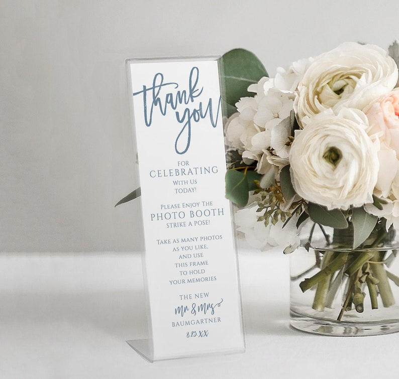 Wedding Photo Booth Inserts for Favors | Printable Bookmarks | Dusty Blue  Wedding | Brush Calligraphy | EDIT ONLINE in Templett - Download