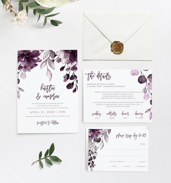 Editable RSVP cards Plum Invitation Set Purple Printable Invitation Plum Wedding Bundle Purple Printable Classic Wedding Printable Set