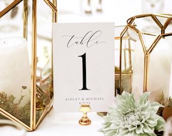 EDITABLE COLOR Luxury Wedding Table Numbers Template (4x6 & 5x7)   Printable Table Numbers   Splendid Script   Edit Online in Templett - PDF