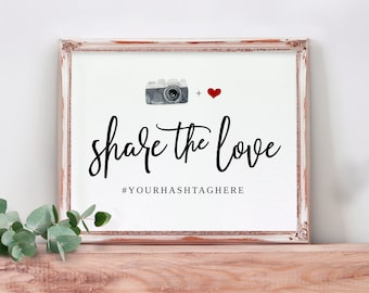 Any Color Wedding Hashtag Sign   Printable Wedding Signs   Watercolor Camera & Heart   Festive Brush   EDIT ONLINE in Templett - Download