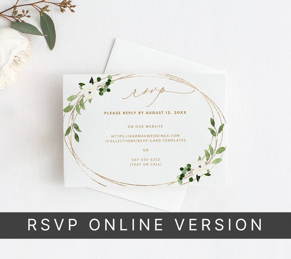 Wedding RSVP Card Template Geometric Greenery White Floral | Edit in your Browser Download /& Print Faux Gold Foil