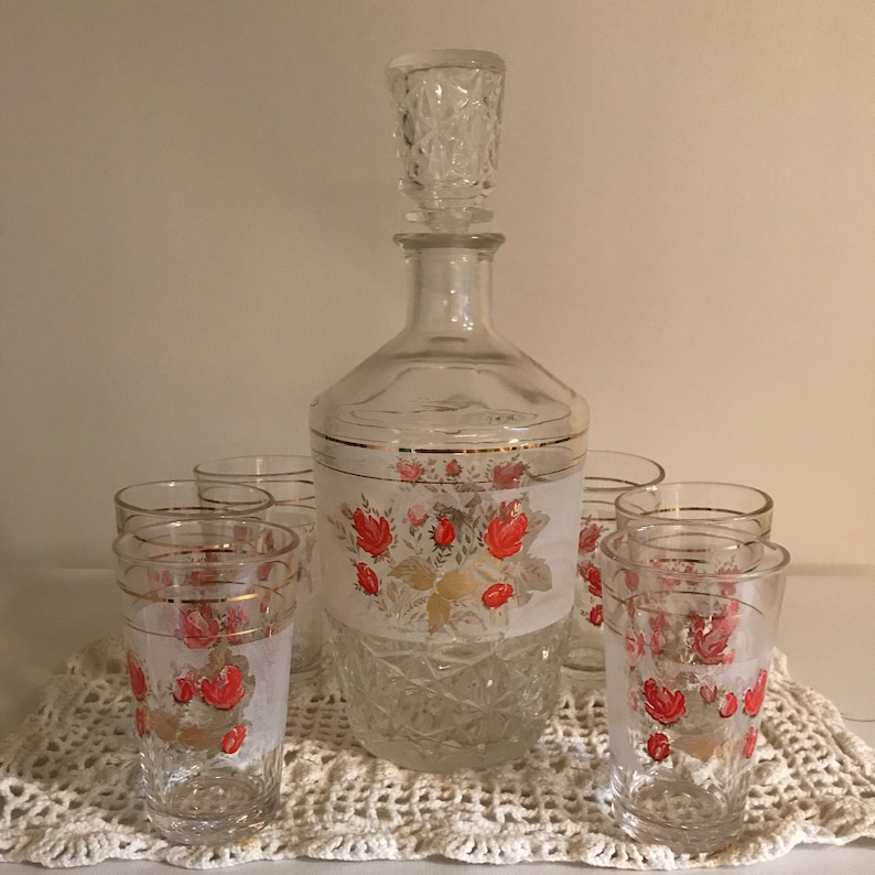 c8fcf0c84119 Vintage Cerve Cut Glass Decanter With Six Shot Glasses Italy