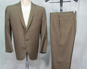 2abda588fc25 1960s Suit Olive Green 40S Flat Front Cuffed Rockabilly Ricky