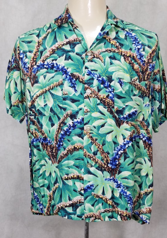 1950s Hawaiian Shirt Rayon Hawaiian Shirt Teal Blu
