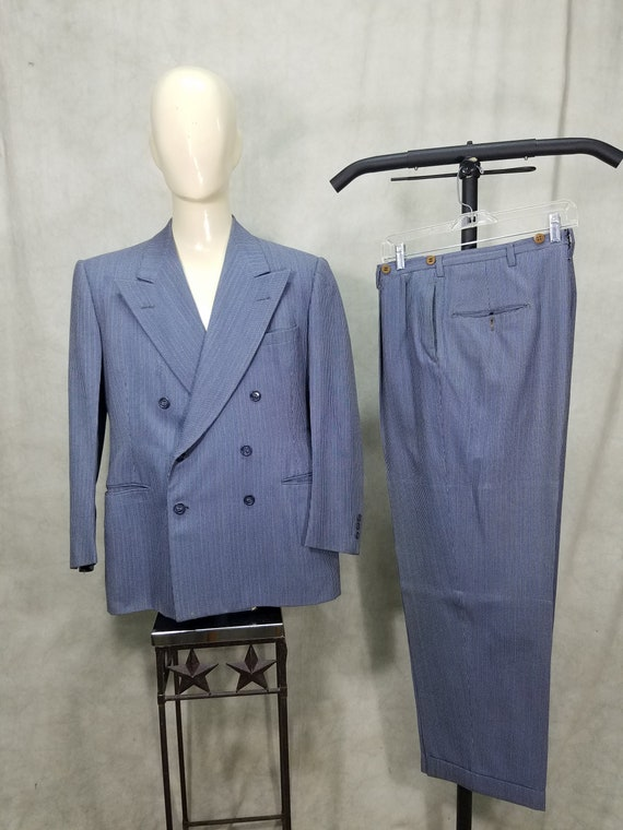 1940s Suit 44L Double Breasted Gangster Swing 50s