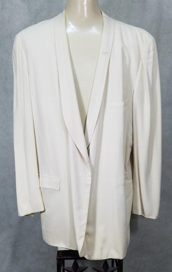 40s Tuxedo XL Size Thin Lapel 1950s Vintage CreamT