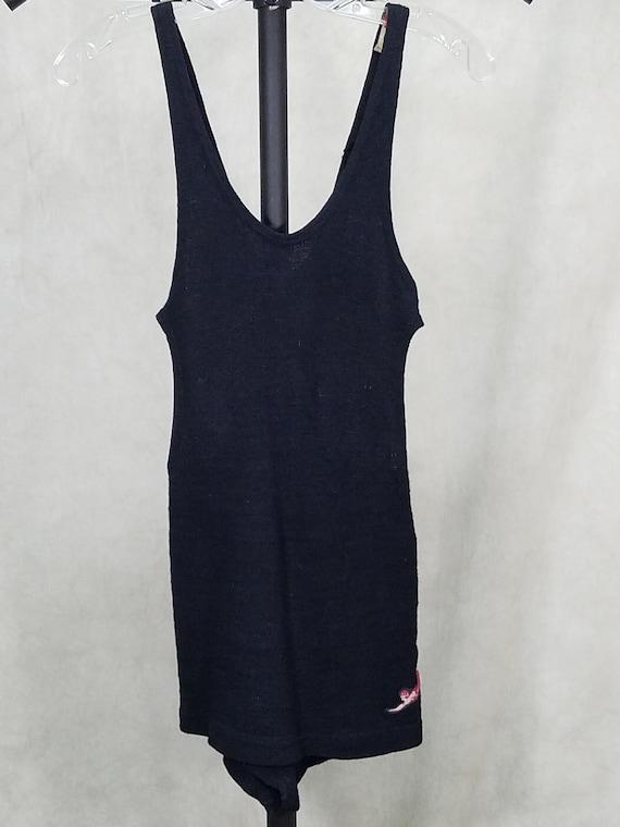 1930s Swimsuit Jantzen Black Wool Cut Out Sides Vi