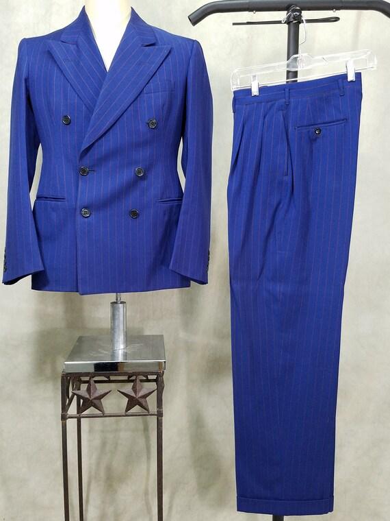 1940s Suit Pin Stripe 38L Suit Rockabilly Vintage