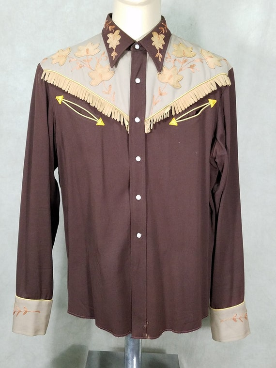 50s Western Shirt|Cowboy Gabardine Leather Fringe