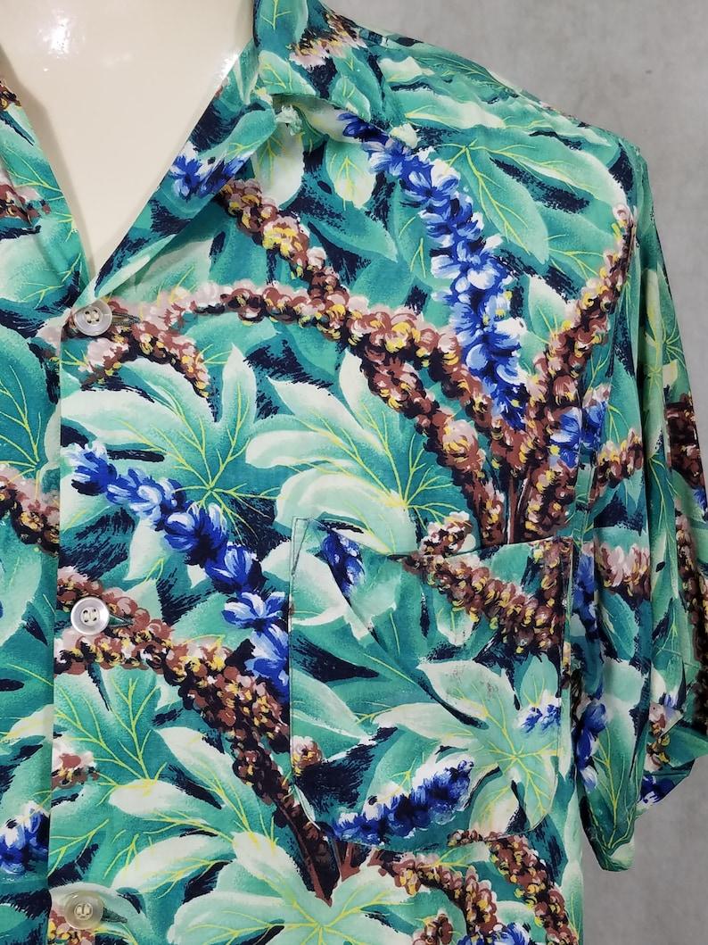 50s Shirt Medium Hawaiian Rayon Blue Flowers