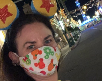 Disney Mickey Food Fabric Face Mask (Adult - One Size Fits Most with Adjustable Ear Straps)