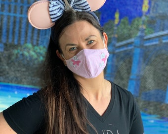 Disney Marie (Aristocats) Fabric Face Mask (Adult - One Size Fits Most with Adjustable Ear Straps)