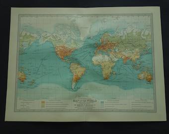Old WORLD Map Original Large Antique Climate Map Of Etsy - Large antique world map poster