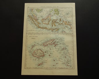 Fiji map etsy fiji islands old map 1895 original antique small poster print of indonesia and fiji english vintage maps java gumiabroncs Image collections