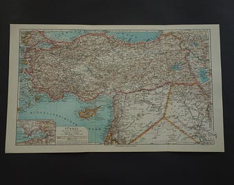 Minor asia map etsy old map of turkey 1926 very detailed antique map of asia minor smyrna cyprus original vintage maps turkije turkei 25x40c 10x16 gumiabroncs Gallery