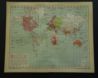 Authentic World Map Etsy - Old time world map
