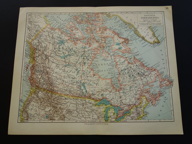 Map Of Canada 1905.Old Map Of Canada Original 1905 Antique Canada Map Etsy