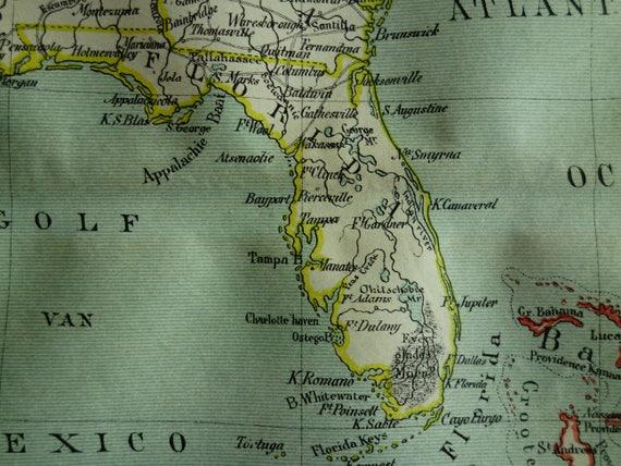 Florida To Cuba Map.1882 Antique Map Of Florida And Cuba Original Old Dutch Print Etsy