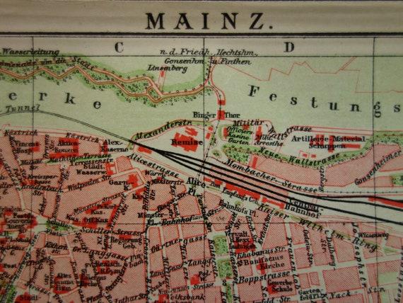 Mainz Old Map 1904 Original Antique City Plan Of Mainz Germany Etsy