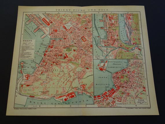 Trieste Vintage Map Of Trieste Italy 1904 Antique City Plan About Trieste Rijeka Pula Croatia Vintage Detailed Maps With Year Date Poster