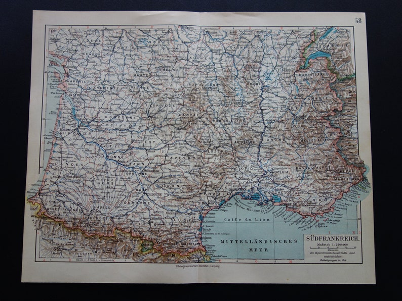 Detailed Map Of Southern France.France Old Map Of France 1906 Detailed Vintage Poster Southern France Antique Maps Marseille Lyon Bordeaux Frankreich Landkarte 9x12