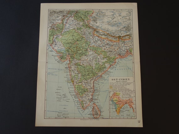 India Old Map Of India 1905 Detailed Antique Print Map India Etsy