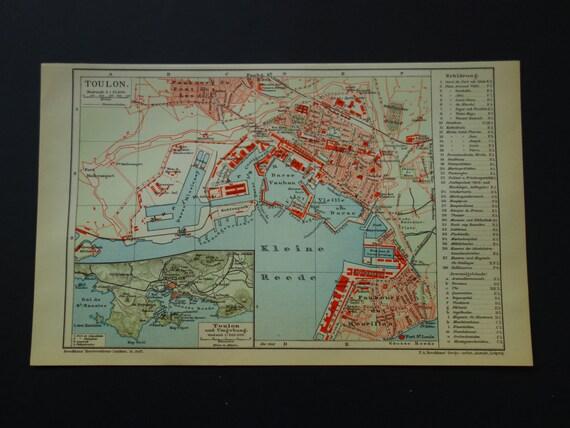 TOULON old map of Toulon France 1903 original antique print | Etsy