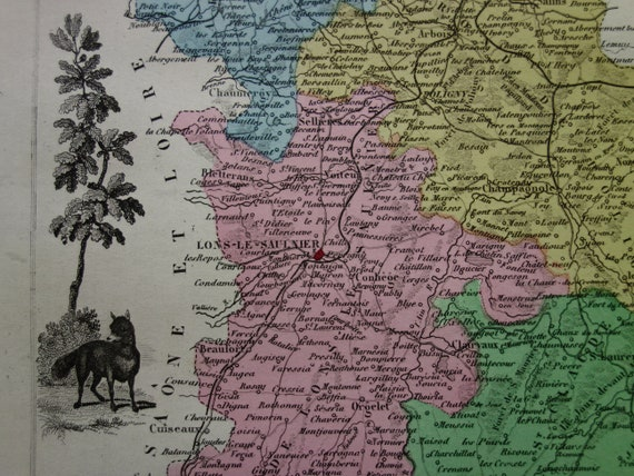 JURA old map of Jura departement - original hand-colored antique print/poster Cherno Map on