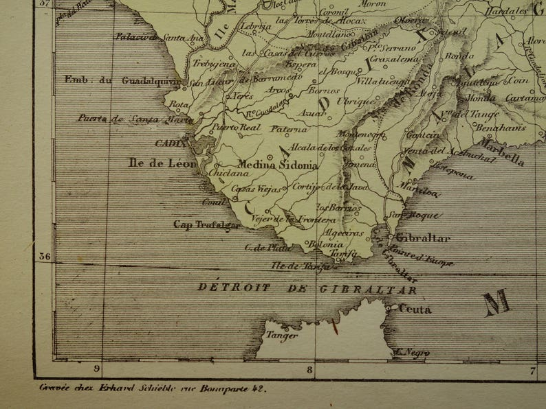 Detailed Map Of Southern Spain.Spain Old Map Of Southern Spain 1858 Original Antique Hand Etsy