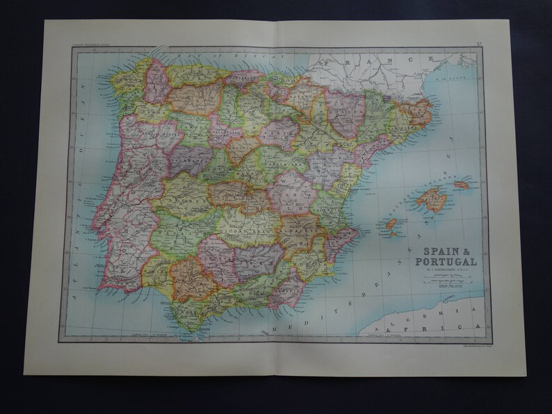 Detailed Map Of Spain In English.Spain Old Map Of Spain And Portugal In 1890 Original Large English Antique Print About Madrid Lisbon Barcelona Vintage Maps 14x19 Big